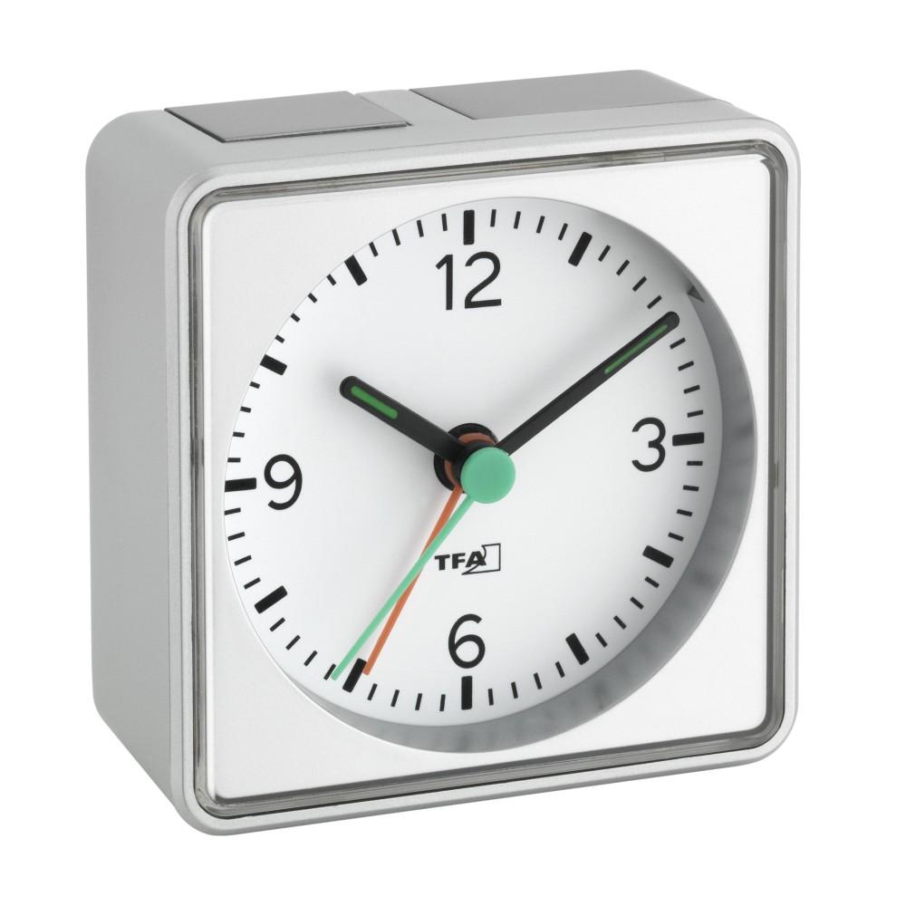 Elektronický analogový budík TFA 60.1013.54 - stříbrný