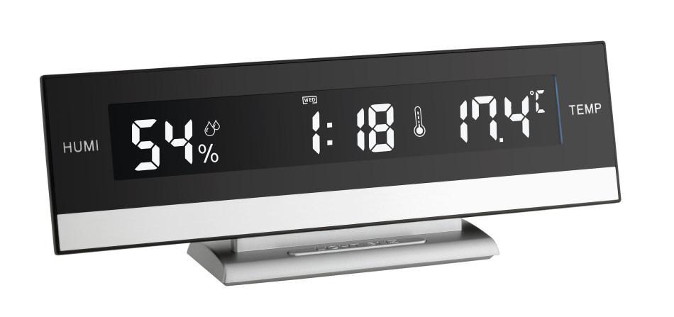 Digitální hodiny s inverzním displejem a měřením teploty a vlhkosti TFA 60.2011