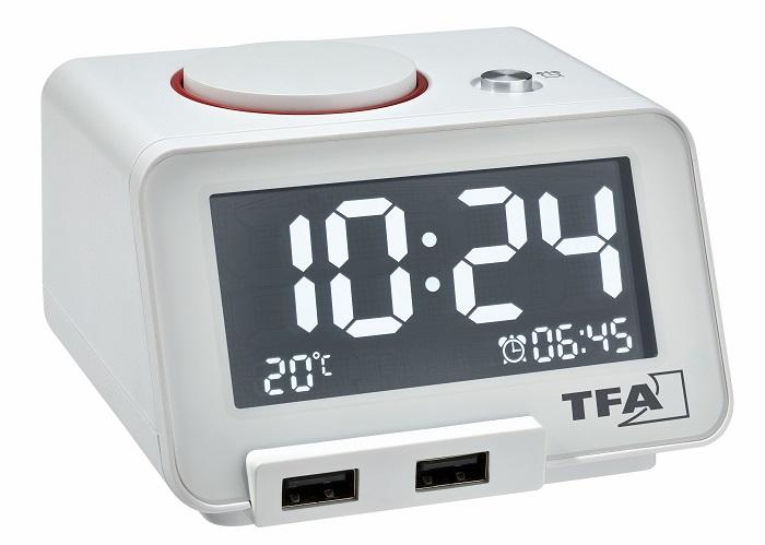 Digitální budík s funkcí USB nabíjení TFA 60.2017.02 Homtime - bílý