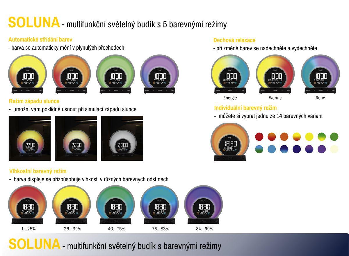 Digitální budík s barevným podsvícením, teplotou a vlhkostí TFA 60.2026.01 SOLUNA