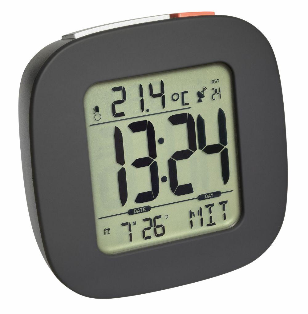 Digitální rádiem řízený budík s ukazatelem vnitřní teploty a podsvícením TFA 60.2542.10 - antracit