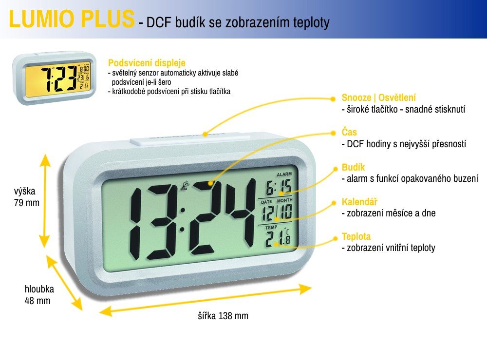 Rádiem řízený digitální budík s možností podsvícení TFA 60.2553.02 LUMIO PLUS - barva bílá