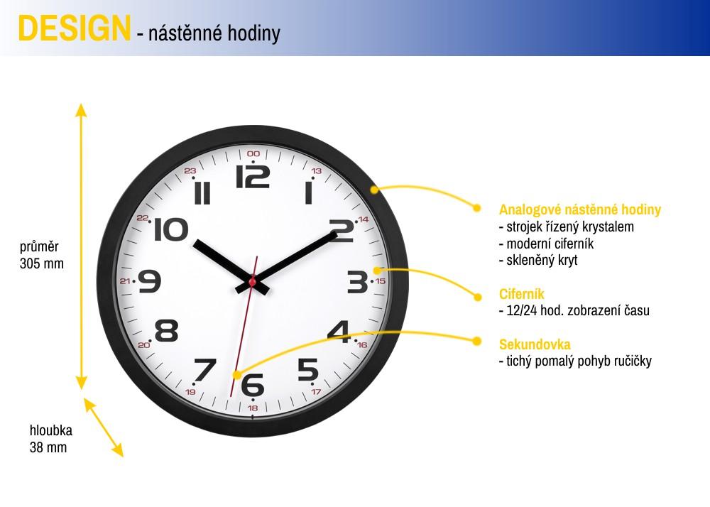 Nástěnné hodiny TFA 60.3050.01 - černé