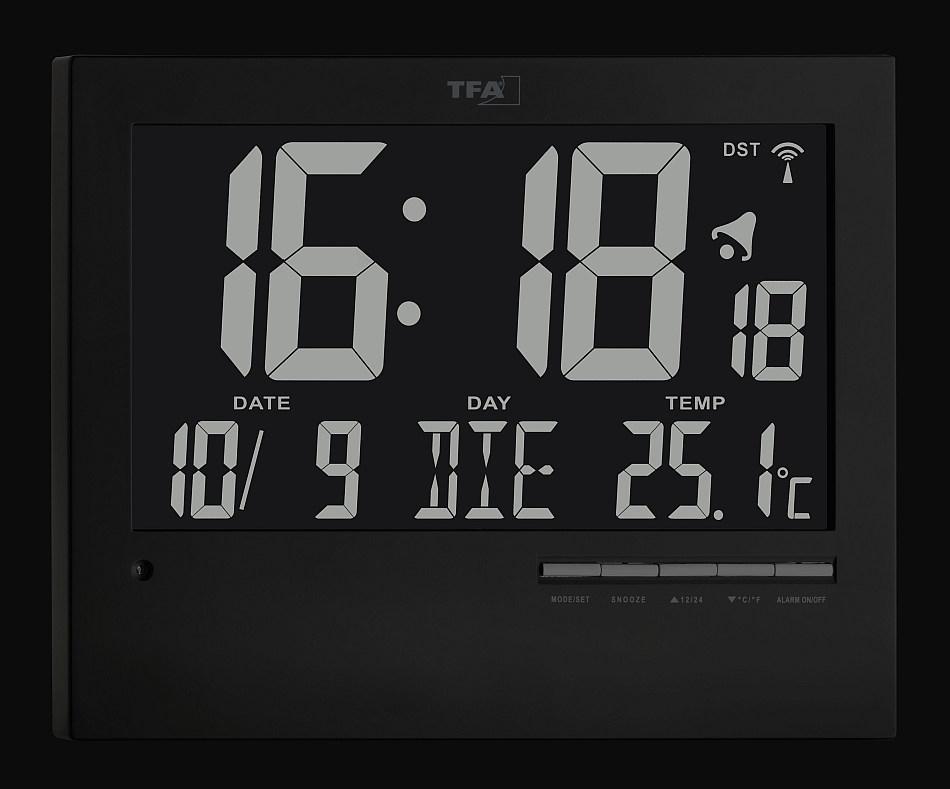 Rádiem řízené nástěnné hodiny s češtinou a automatickým podsvícením - TFA 60.4508