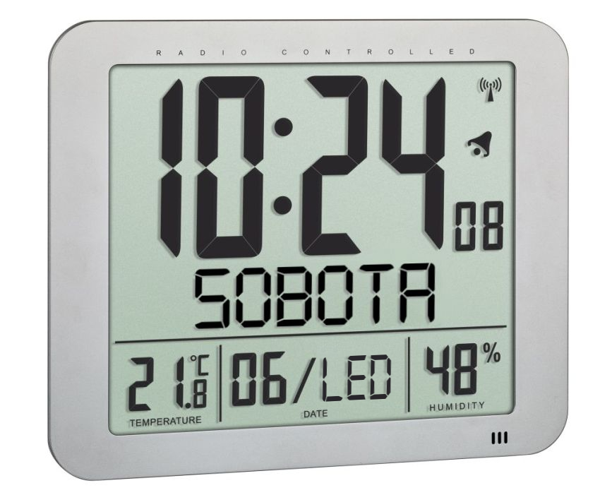 Nástěnné hodiny řízené rádiovým signálem s českým dnem v týdnu TFA 60.4516.54