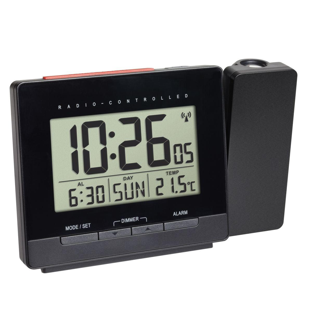 Rádiem řízený digitální budík s projekcí, zobrazením vnitřní teploty a podsvětleným displejem TFA 60.5016.01